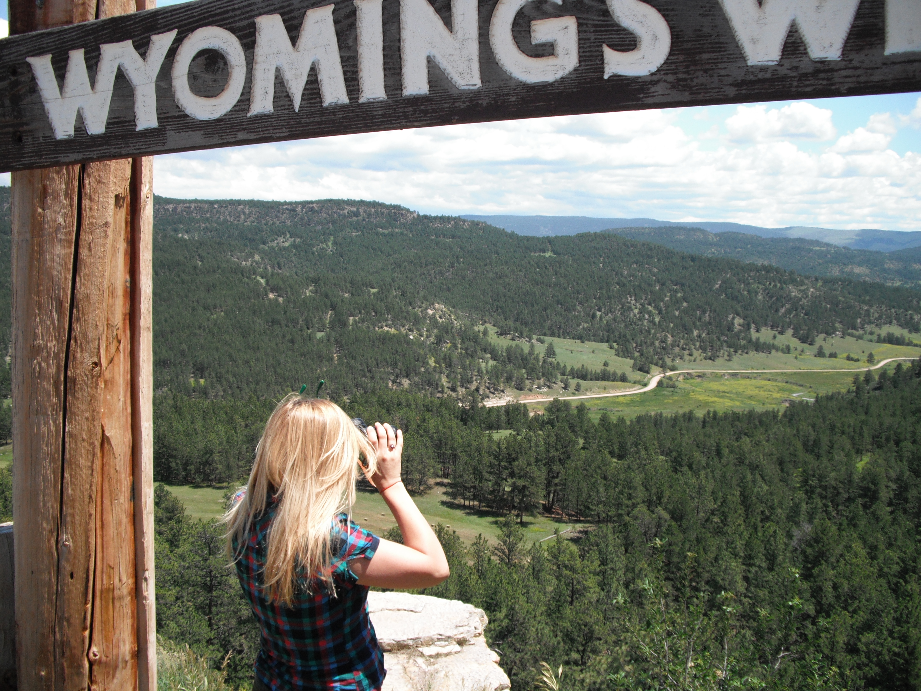 Priscilla in Wyoming.  I was looking for my binoculars, and came to the realazation that they were in the car before it was broken into... Great, they took my grandfather's binoculars that were worth ten bucks. I cursed the theaves here on top of Big Sky Country.